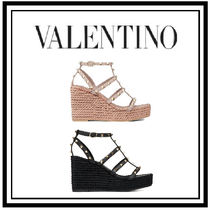 VALENTINO Open Toe Casual Style Plain Leather Platform & Wedge Sandals