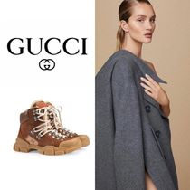 GUCCI Mountain Boots Round Toe Rubber Sole Casual Style