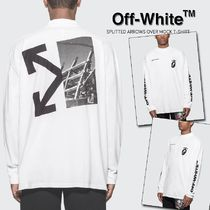 Off-White Crew Neck Unisex Street Style Long Sleeves Plain Cotton