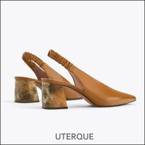 Uterque Leather Slingback Shoes with Horn Design Heel