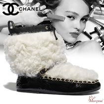 CHANEL Plain Toe Rubber Sole Casual Style Blended Fabrics