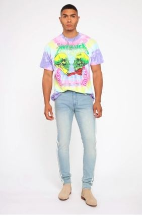 Crew Neck Skull Street Style Tie-dye Cotton Short Sleeves