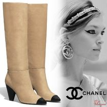 CHANEL Plain Toe Blended Fabrics Street Style Plain Leather