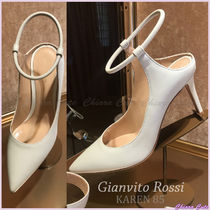 Gianvito Rossi Plain Leather Pin Heels Elegant Style Co-ord Heeled Sandals