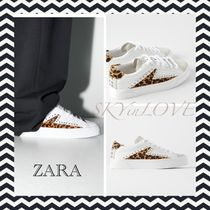 ZARA Leopard Patterns Lace-up Casual Style Studded Leather