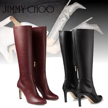 Jimmy Choo Round Toe Plain Leather Elegant Style Over-the-Knee Boots