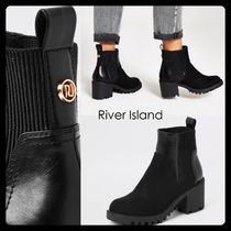 River Island Casual Style Faux Fur Blended Fabrics Plain Chelsea Boots