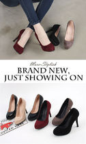 Round Toe Casual Style Faux Fur Street Style Plain Pin Heels
