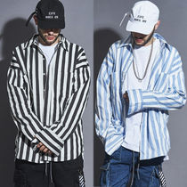 LAUL Stripes Street Style Long Sleeves Oversized Shirts