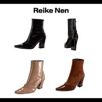 Reike Nen Casual Style Plain Leather Block Heels Ankle & Booties Boots