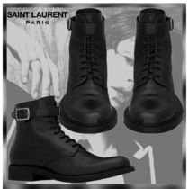 Saint Laurent Plain Toe Plain Leather Engineer Boots