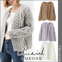 Chicwish Cable Knit Casual Style Long Sleeves Plain Medium Knitwear
