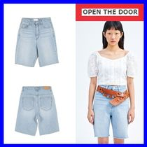 OPEN THE DOOR Street Style Plain Cotton Denim & Cotton Shorts