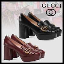 GUCCI Platform Plain Leather Fringes Platform Pumps & Mules