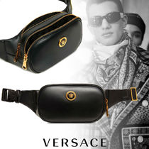 VERSACE Street Style Plain Leather Hip Packs