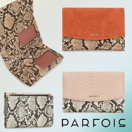 Faux Fur Blended Fabrics Python Folding Wallets