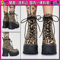 DOLLS KILL Leopard Patterns Round Toe Lace-up Casual Style