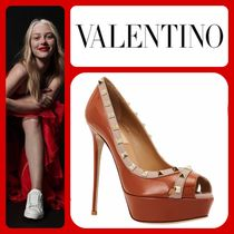 VALENTINO Open Toe Platform Leather Elegant Style