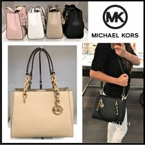 Michael Kors Saffiano 2WAY Plain Elegant Style Crossbody Handbags
