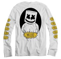 Marshmello Crew Neck Unisex Street Style Long Sleeves Plain Cotton