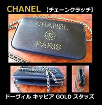 CHANEL CHAIN WALLET Casual Style Unisex Studded Leather Shoulder Bags