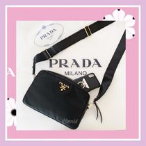 PRADA Casual Style Unisex Nylon Plain Crossbody Logo Camera Bag