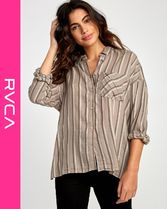 RVCA Stripes Street Style Long Sleeves Shirts & Blouses