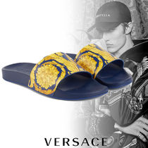 VERSACE Flower Patterns Street Style Shower Shoes PVC Clothing