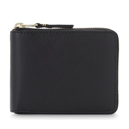 Unisex Plain Leather Long Wallet  Folding Wallets