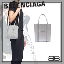 BALENCIAGA EVERYDAY TOTE Casual Style Calfskin Street Style 2WAY Glitter Logo Totes