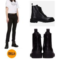 VALENTINO Casual Style Leather Flat Boots
