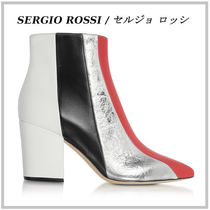 Sergio Rossi Stripes Casual Style Street Style Leather Chunky Heels
