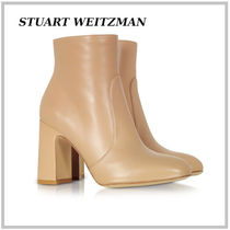 Stuart Weitzman Round Toe Plain Leather Block Heels Elegant Style