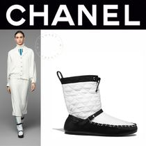 CHANEL MATELASSE Plain Toe Casual Style Blended Fabrics Street Style Bi-color
