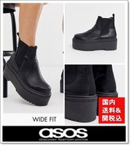 ASOS Round Toe Casual Style Faux Fur Plain Chunky Heels