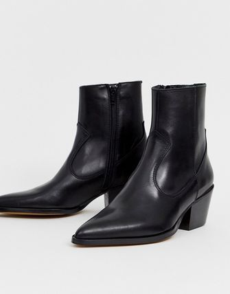 1a0f3a4e085 ASOS Cowboy Boots Casual Style Plain Leather Block Heels