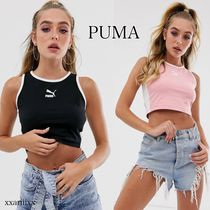 PUMA Crew Neck Short Street Style Plain Cotton Cropped