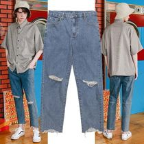 WV PROJECT Unisex Denim Street Style Plain Pants