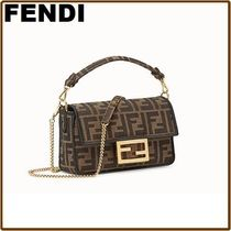 FENDI BAGUETTE Monogram Blended Fabrics 2WAY Chain Leather Elegant Style