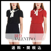 RED VALENTINO Silk Plain Short Sleeves Elegant Style Shirts & Blouses