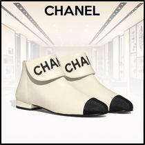 CHANEL Casual Style Bi-color Plain Leather Ankle & Booties Boots