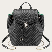 Bvlgari Casual Style Plain Leather Backpacks