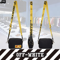 Off-White 2WAY Plain Leather Handmade Messenger & Shoulder Bags