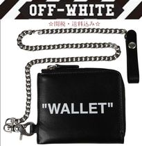 Off-White Street Style Chain Plain Leather Coin Cases
