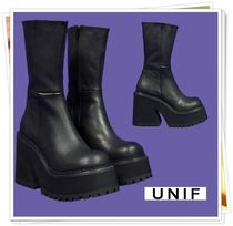 UNIF Clothing Platform Casual Style Plain Leather High Heel Boots