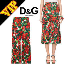 Dolce & Gabbana Flower Patterns Elegant Style Culottes & Gaucho Pants