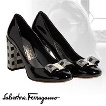 Salvatore Ferragamo Other Check Patterns Plain Toe Plain Leather Party Style