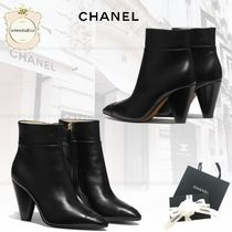 CHANEL Round Toe Leather High Heel Boots