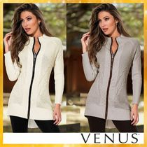 Venus Cable Knit Casual Style Blended Fabrics Long Sleeves Plain