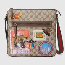 GUCCI GG Supreme Stripes Casual Style Unisex Canvas Street Style